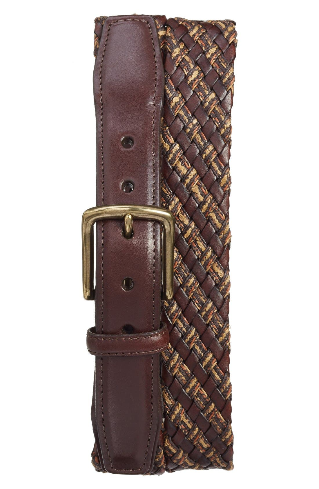 Woven & Leather Belt,                         Main,                         color, Brown