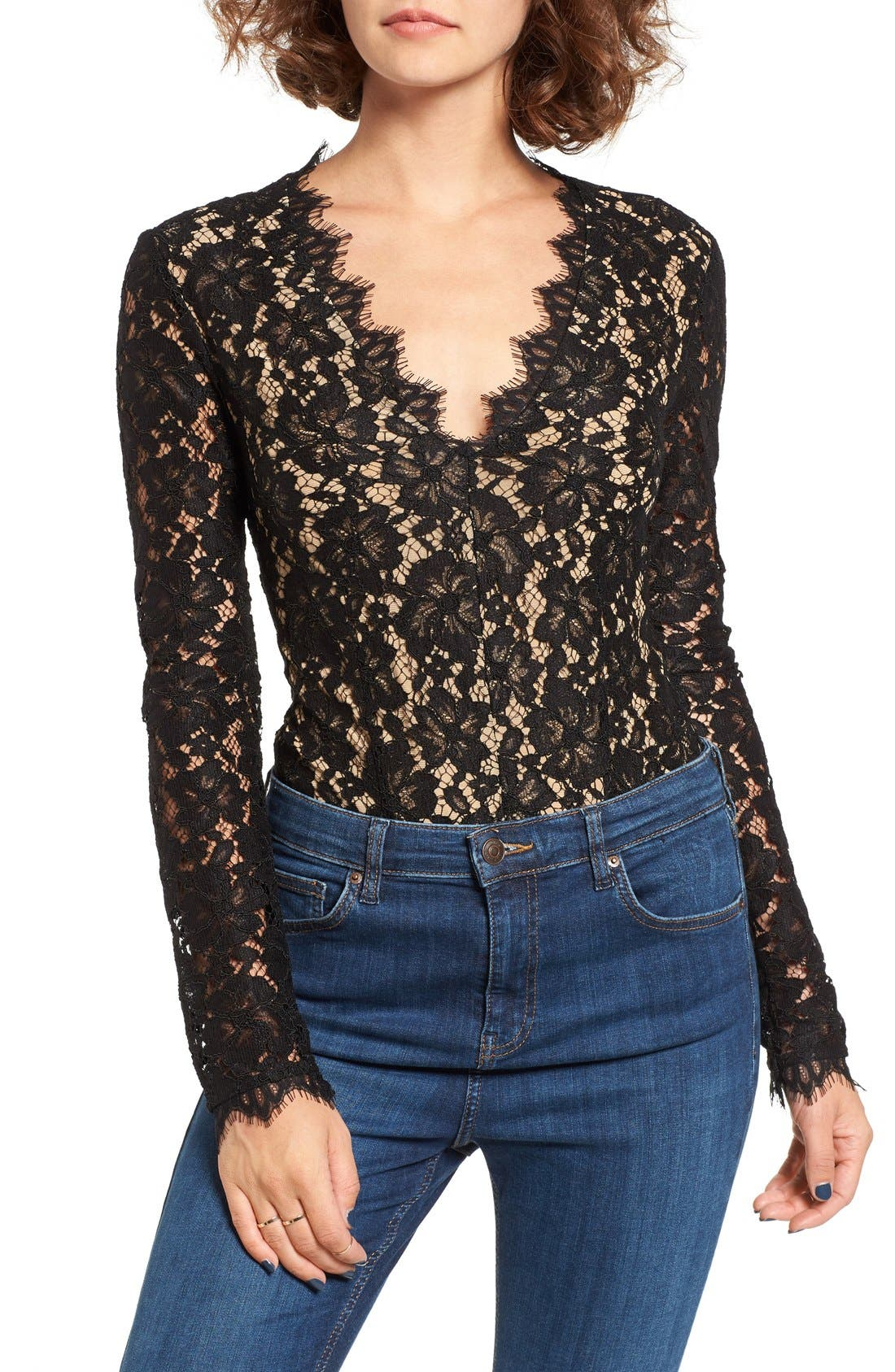Alternate Image 1 Selected - WAYF Levy Long Sleeve Lace Bodysuit
