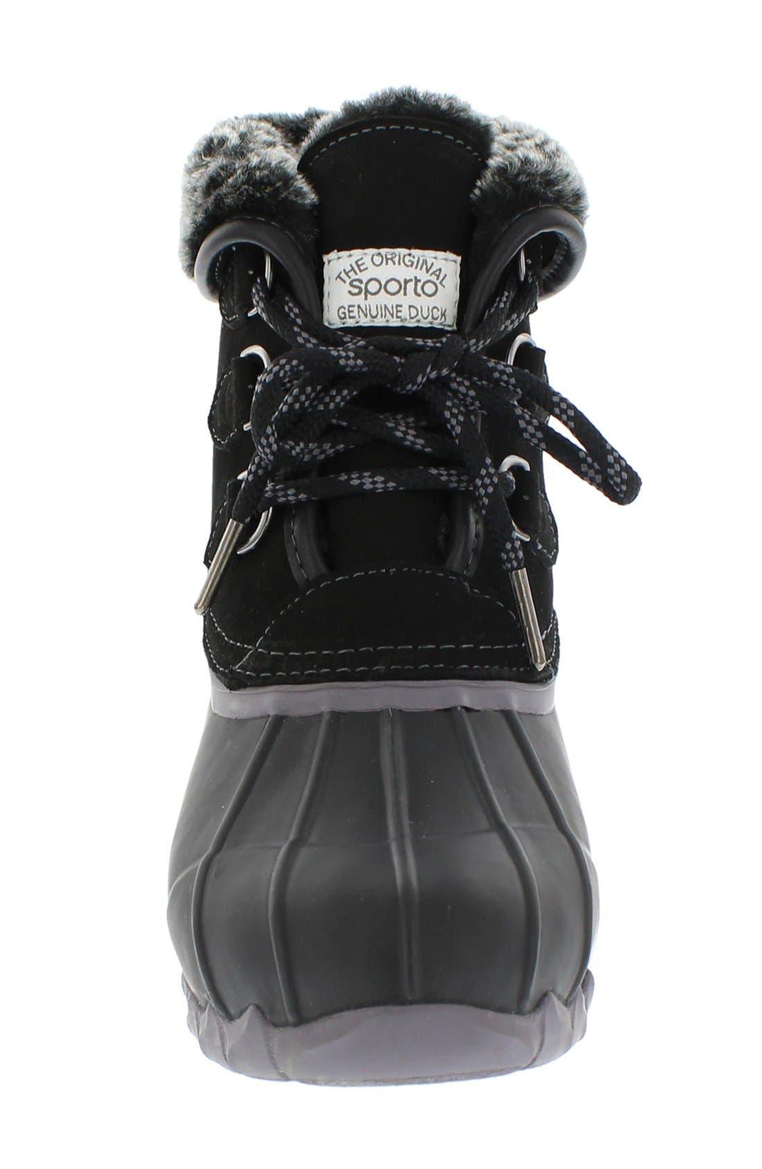 Defrost Faux Fur Lined Duck Boot,                             Alternate thumbnail 3, color,                             Black/ Black