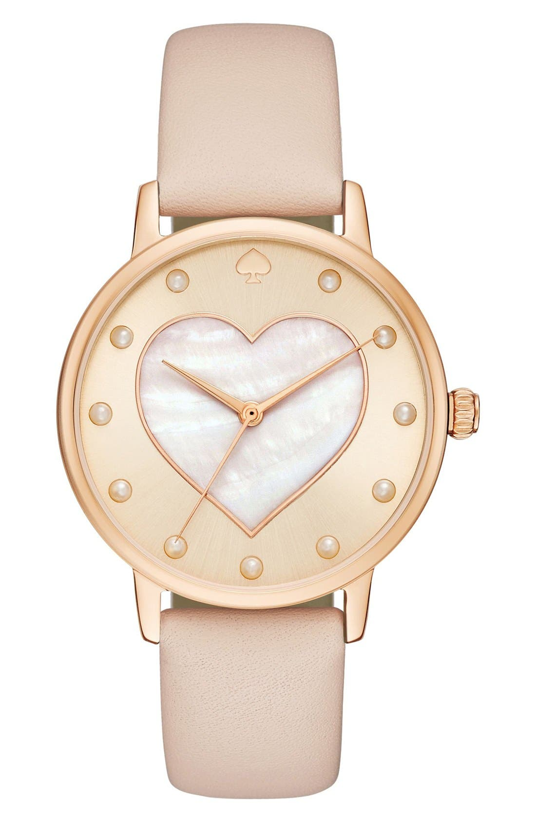 Main Image - kate spade new york metro mother-of-pearl heart watch, 34mm