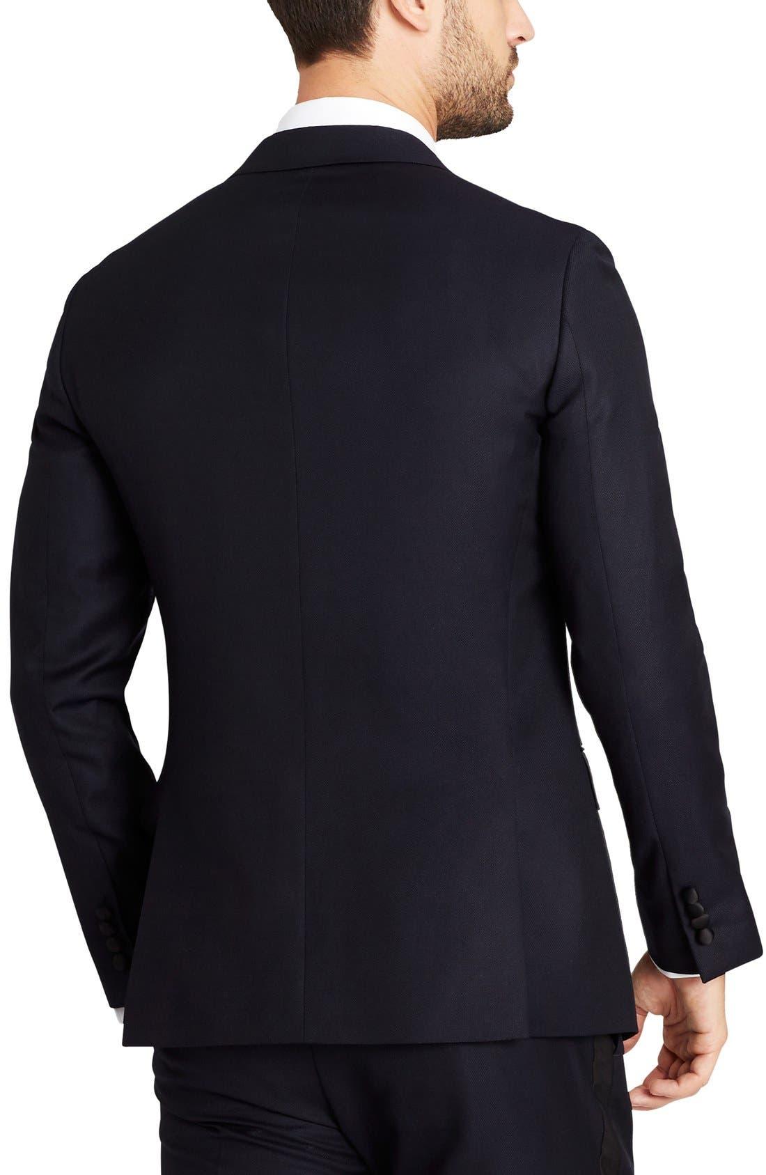 Trim Fit Wool Dinner Jacket,                             Alternate thumbnail 2, color,                             Navy Hopsack