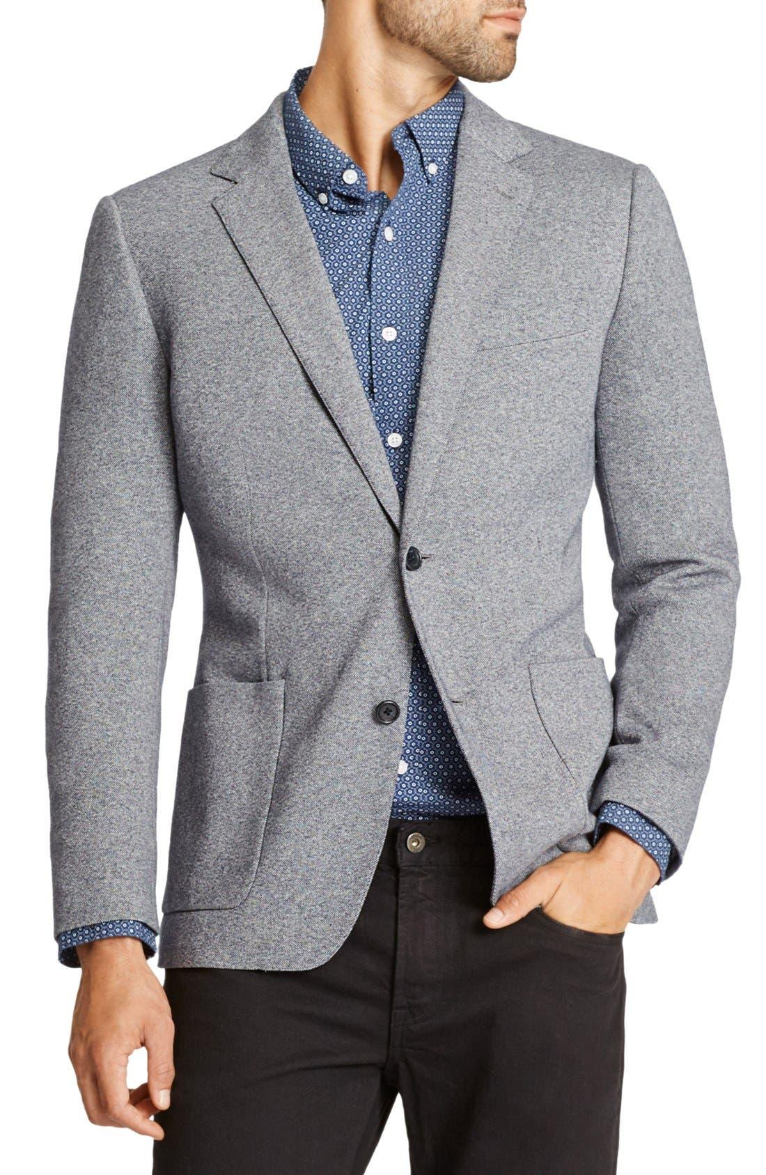 Jetsetter Trim Fit Knit Cotton Blazer,                             Main thumbnail 1, color,                             Light Grey