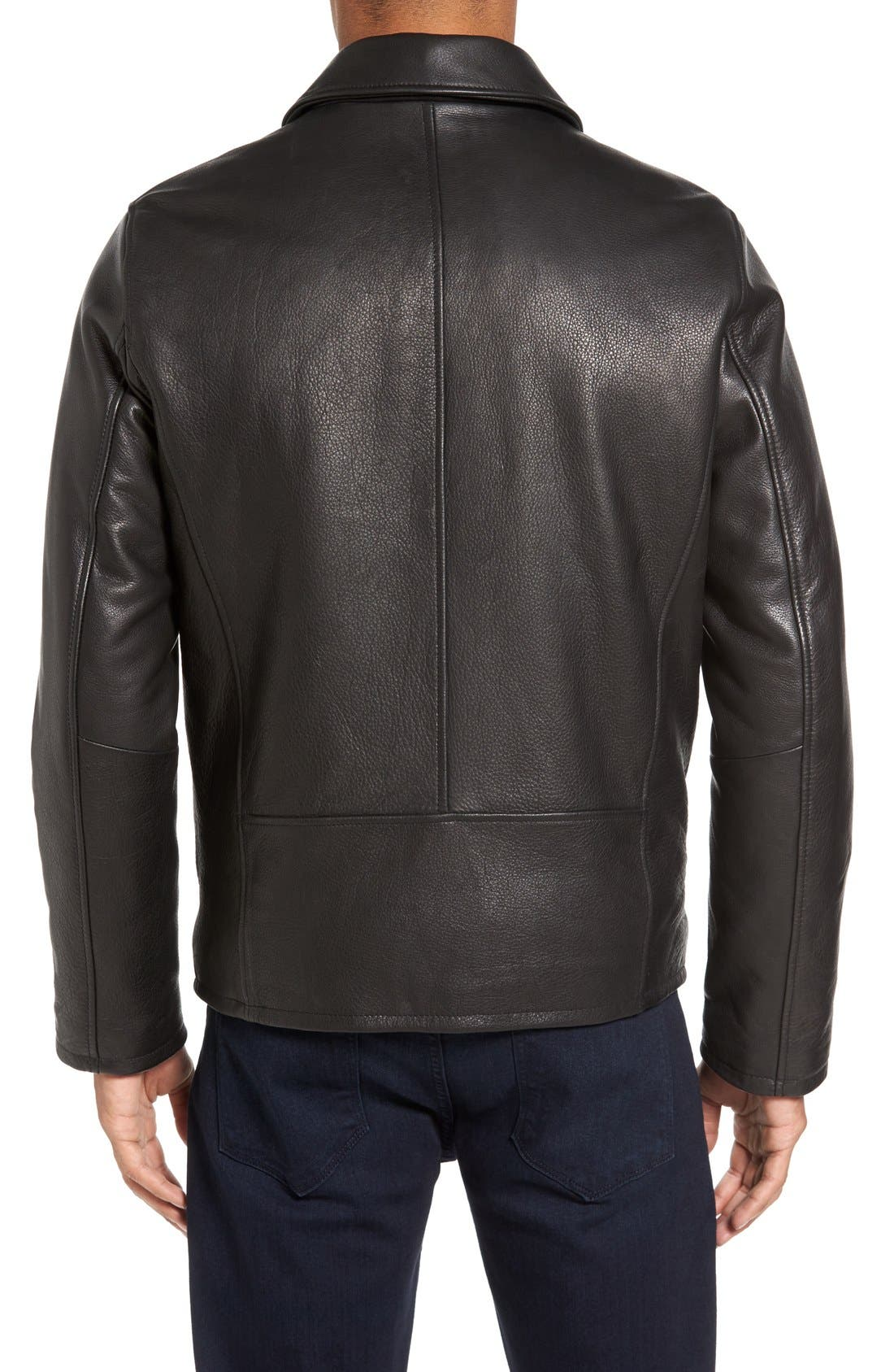Leather Zip Front Jacket,                             Alternate thumbnail 2, color,                             Black