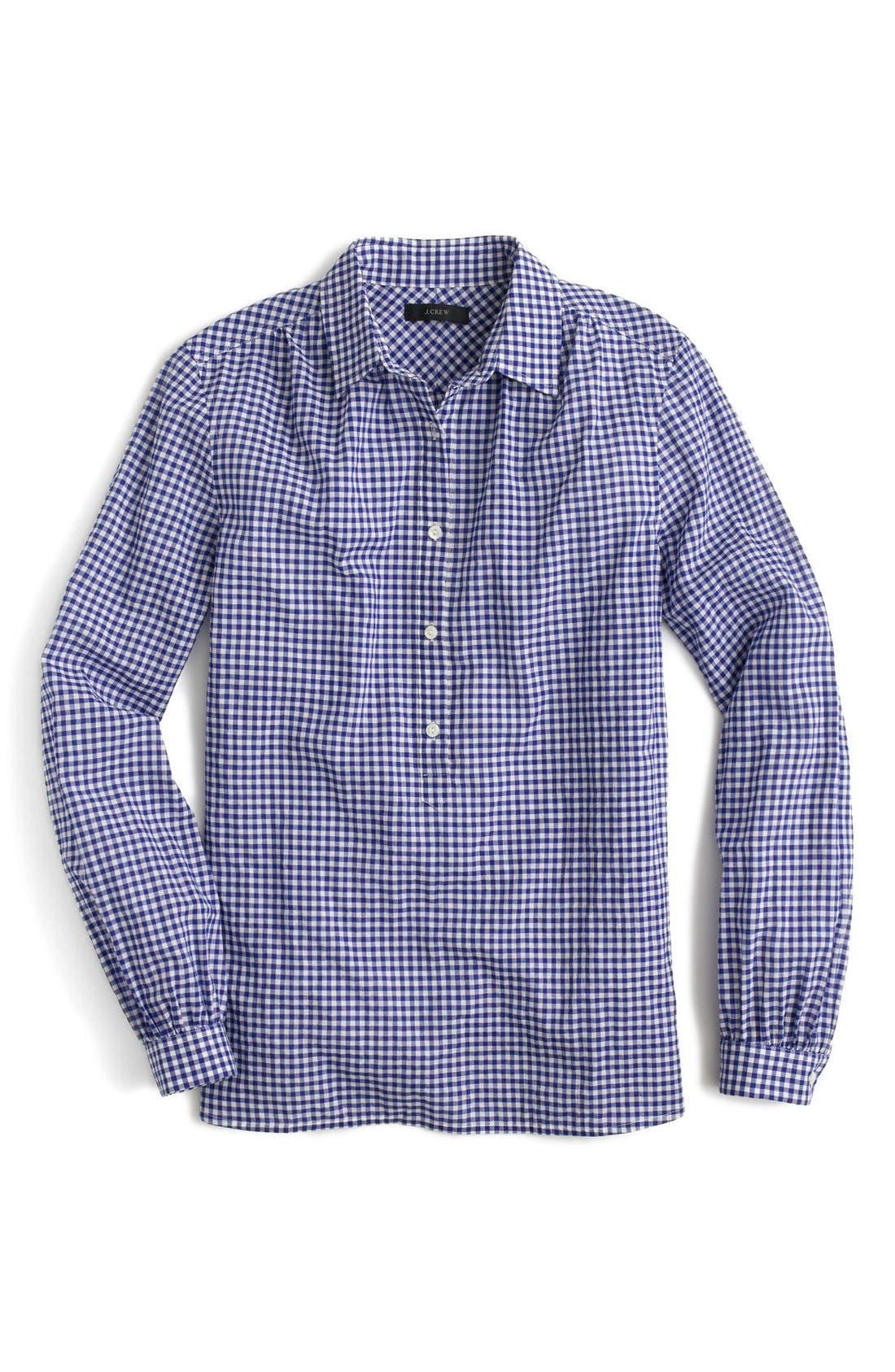 Alternate Image 3  - J.Crew Gathered Gingham Popover Shirt (Regular & Petite)