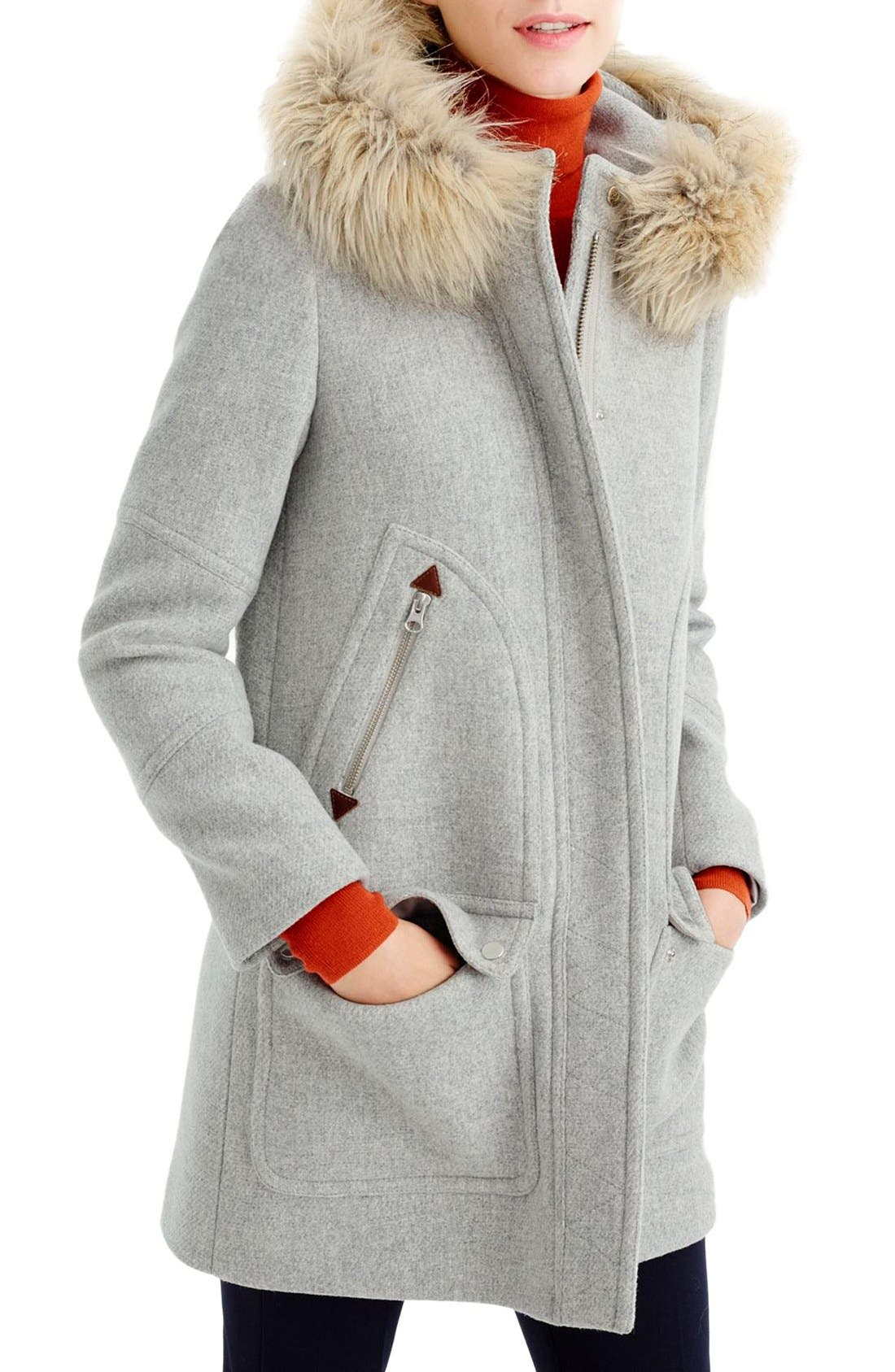 Alternate Image 3  - J.Crew Chateau Stadium Cloth Parka with Faux Fur (Regular & Petite)