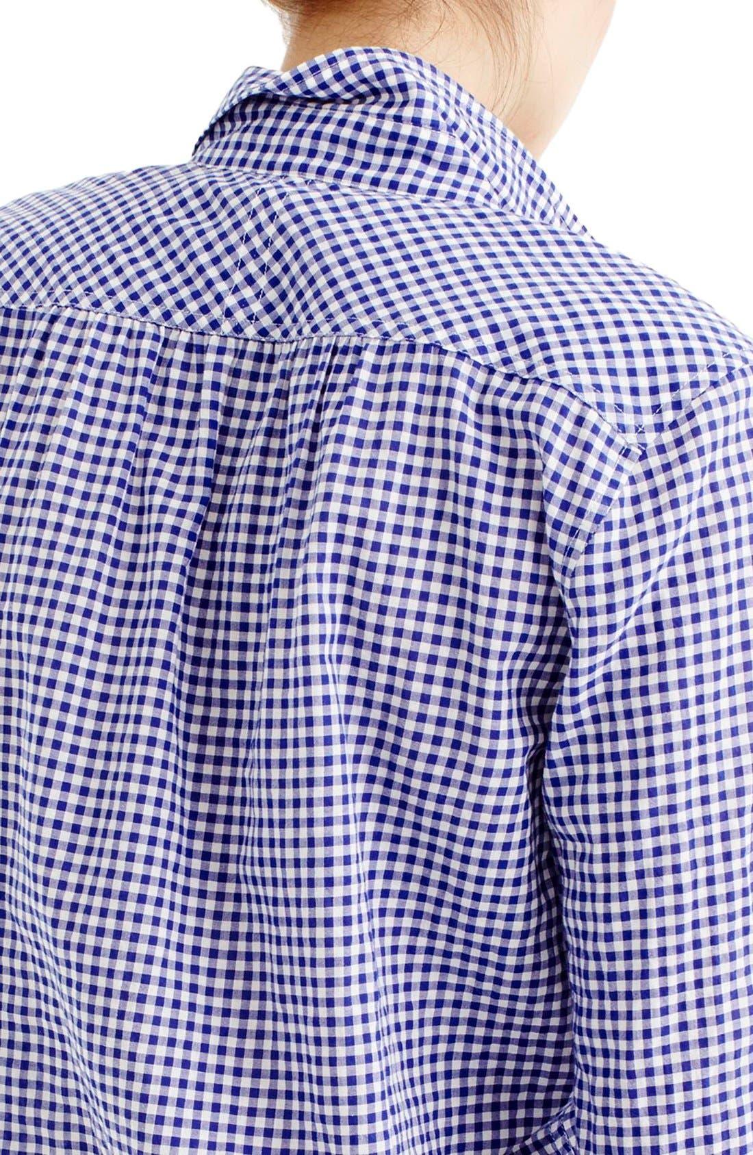 Alternate Image 2  - J.Crew Gathered Gingham Popover Shirt (Regular & Petite)