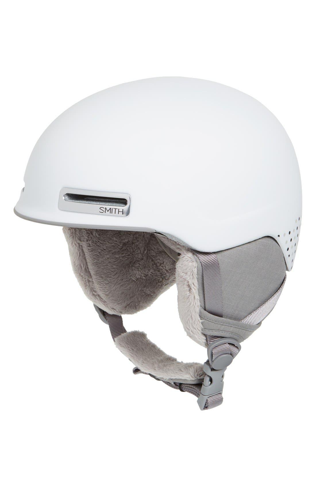 'Allure' Snow Helmet,                             Main thumbnail 1, color,                             Matte White Dots