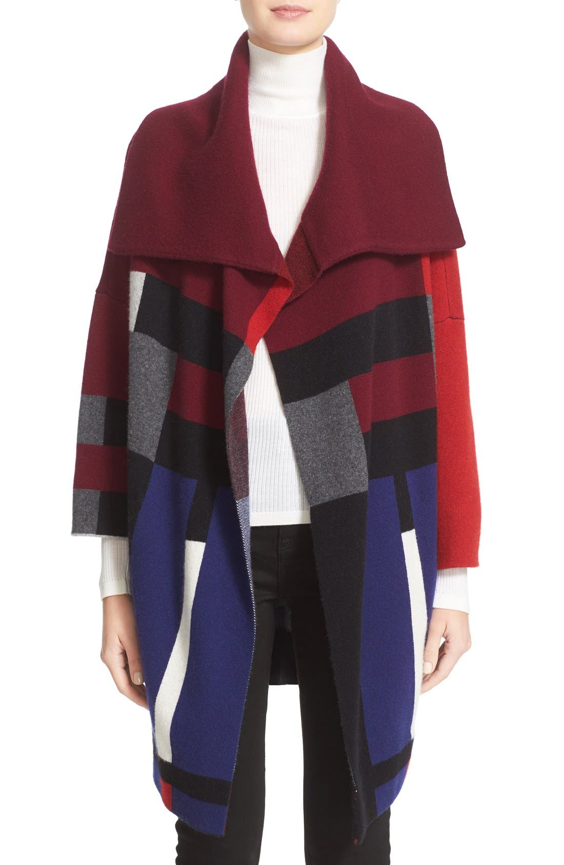Main Image - Burberry Halladale Check Knit Wool & Cashmere Wrap