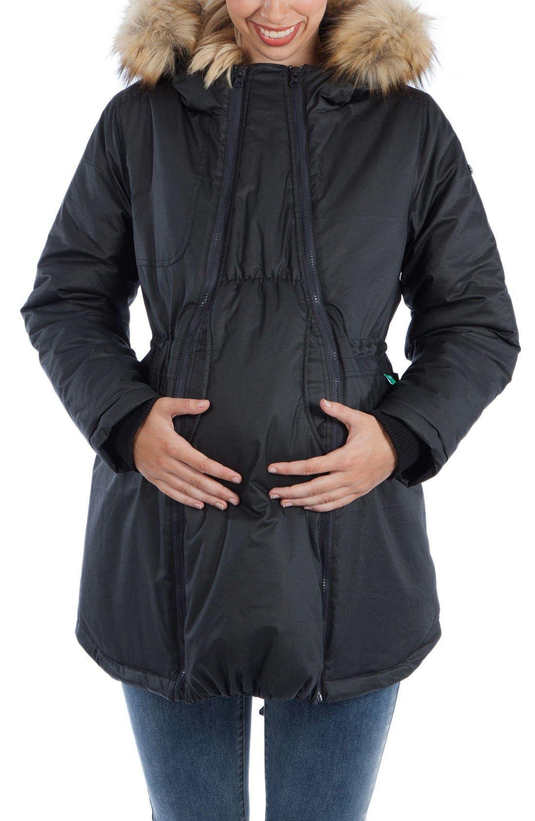 Modern Eternity Sofia Waxed Shell Maternity Jacket with Faux Fur Trim
