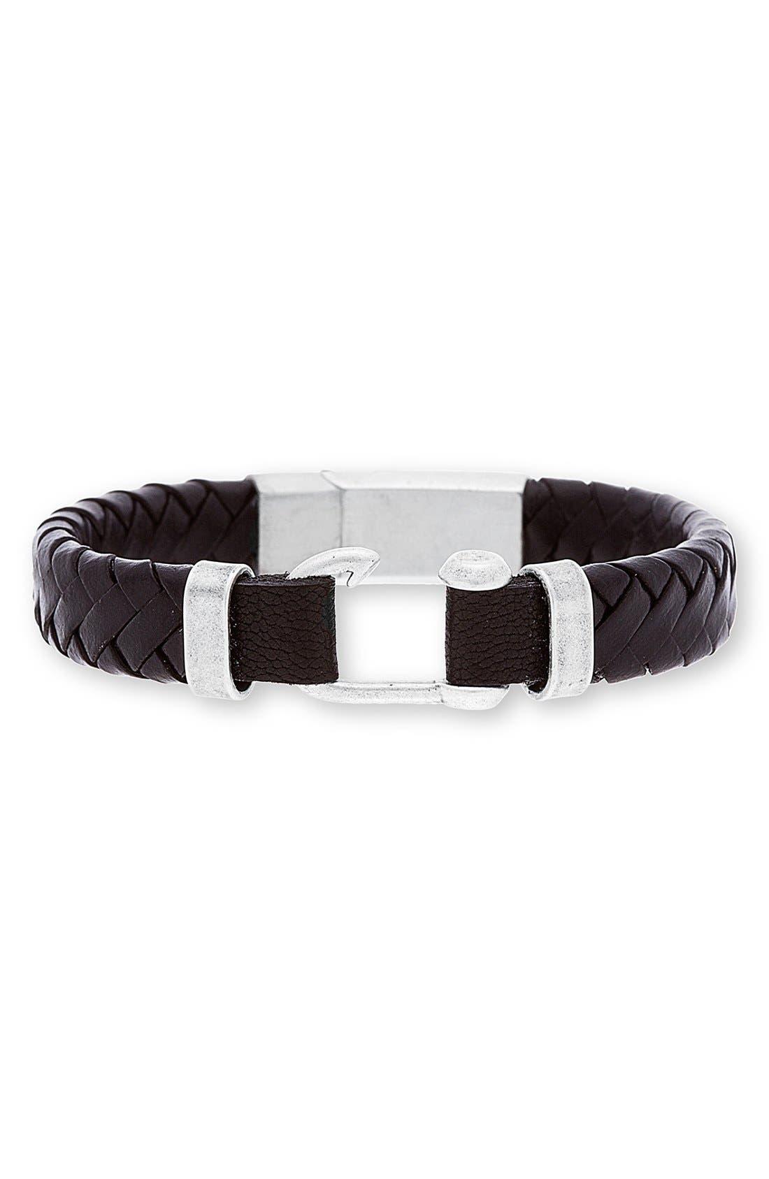 Alternate Image 1 Selected - Steve Madden Braided Leather Bracelet
