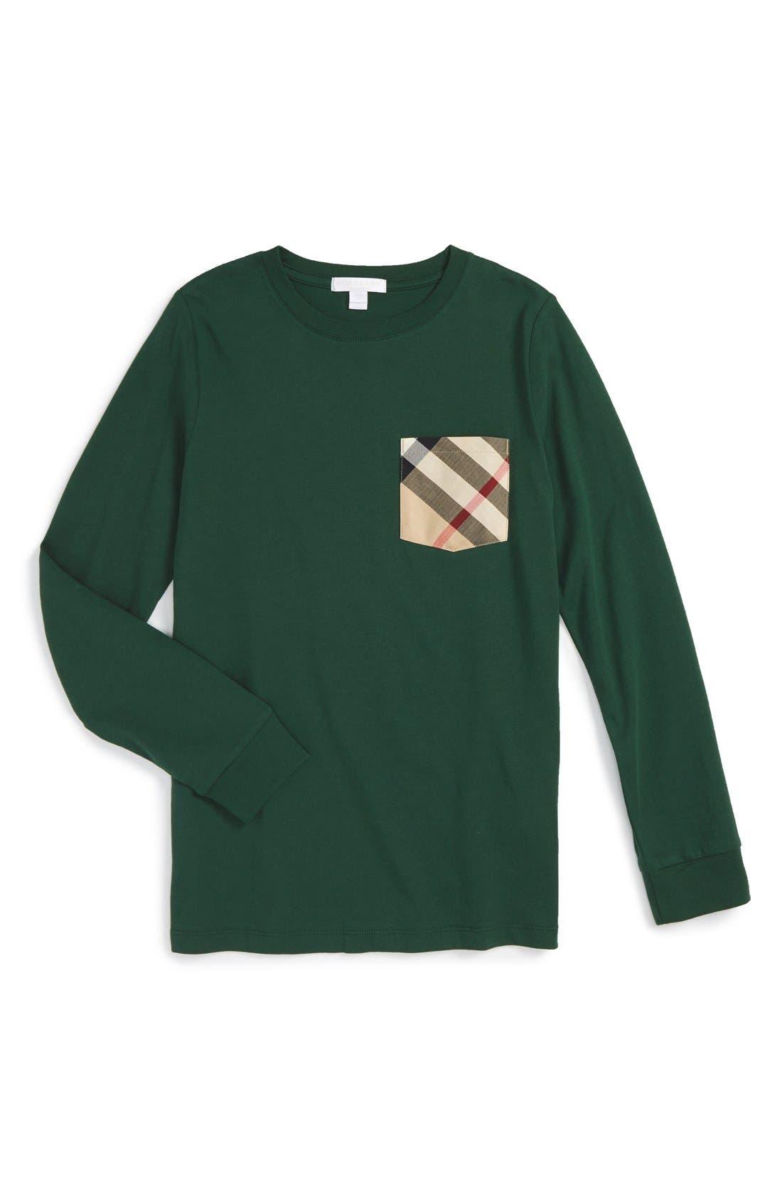 Main Image - Burberry Check Pocket T-Shirt (Little Boys & Big Boys)