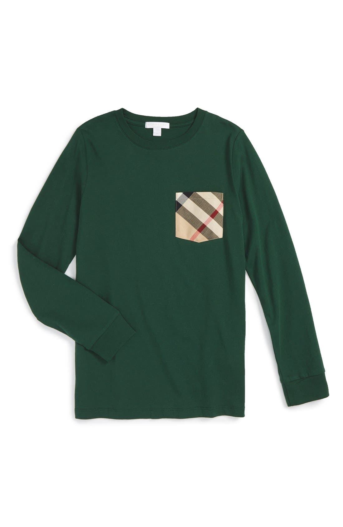 Check Pocket T-Shirt,                         Main,                         color, Forest Green