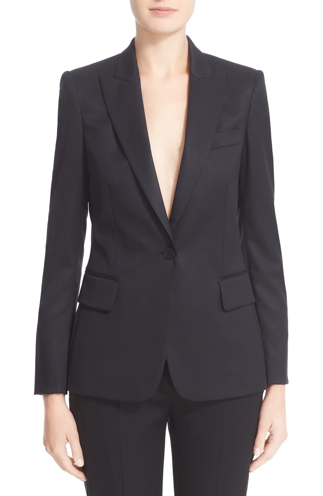 PS1 One-Button Wool Jacket,                         Main,                         color, Black