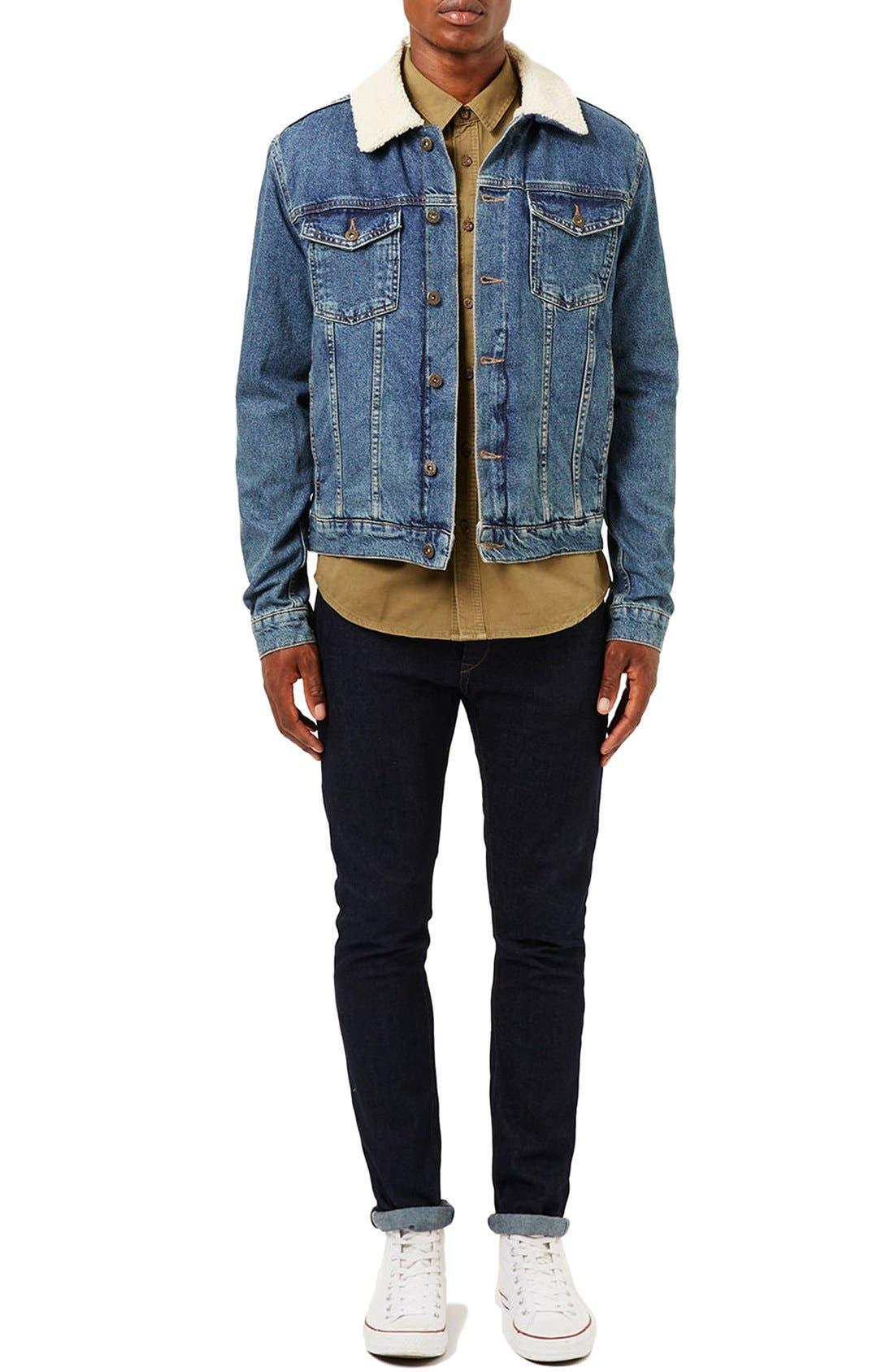 Borg Denim Jacket,                             Alternate thumbnail 2, color,                             Blue