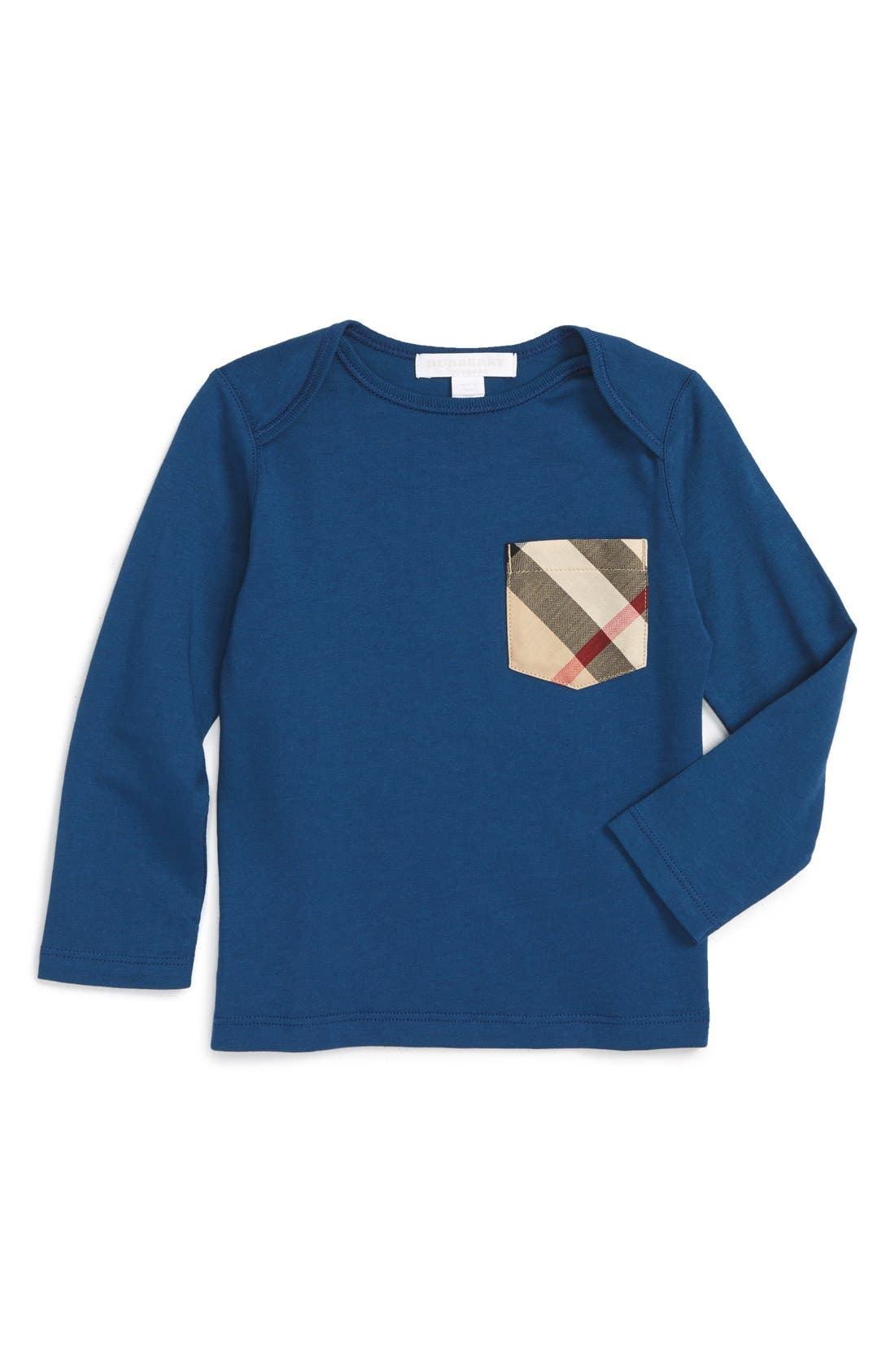 Burberry 'Callum' Long Sleeve Check Print Pocket T-Shirt (Baby Boys)