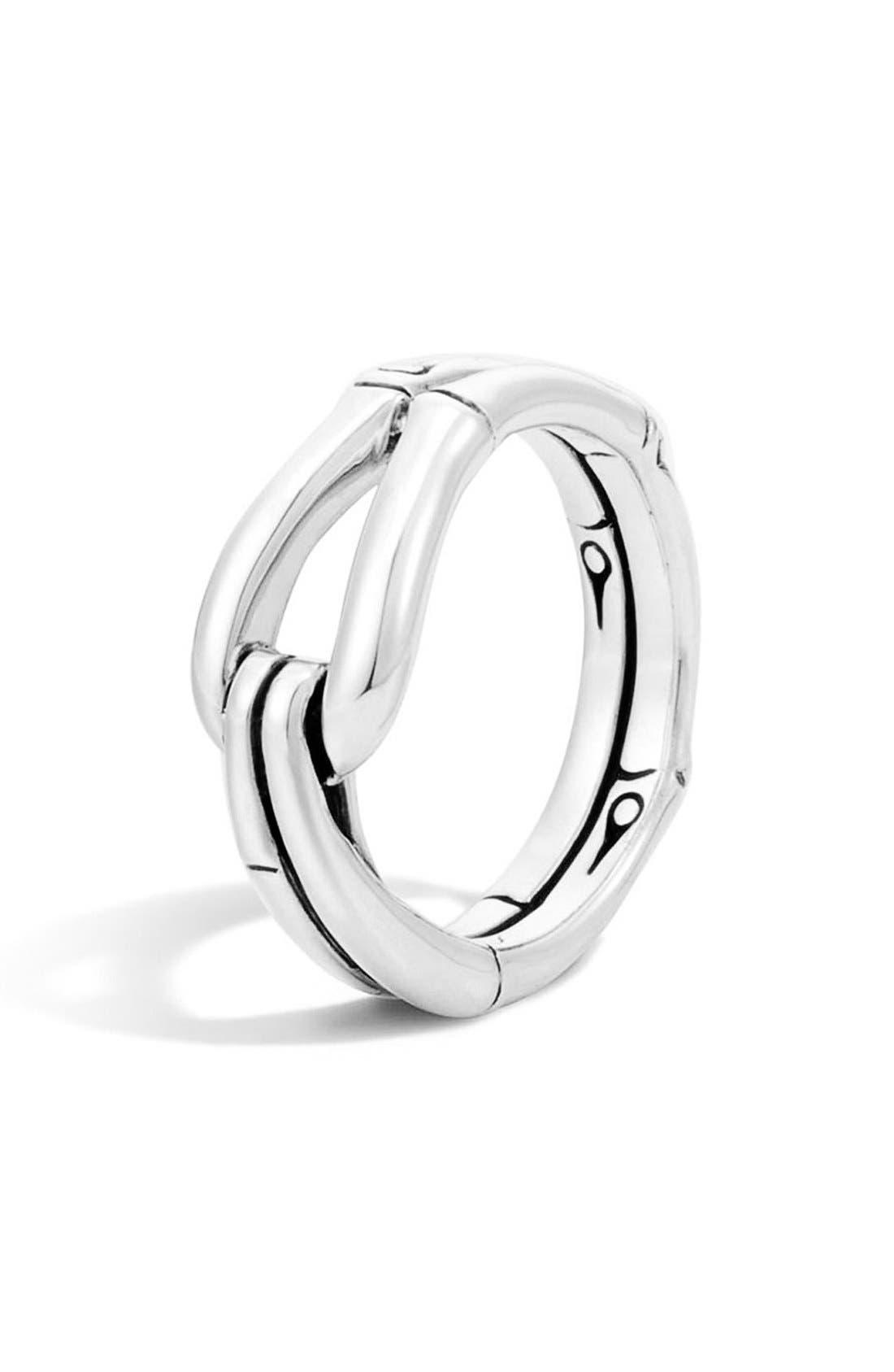 'Bamboo' Hook Ring,                         Main,                         color, Silver