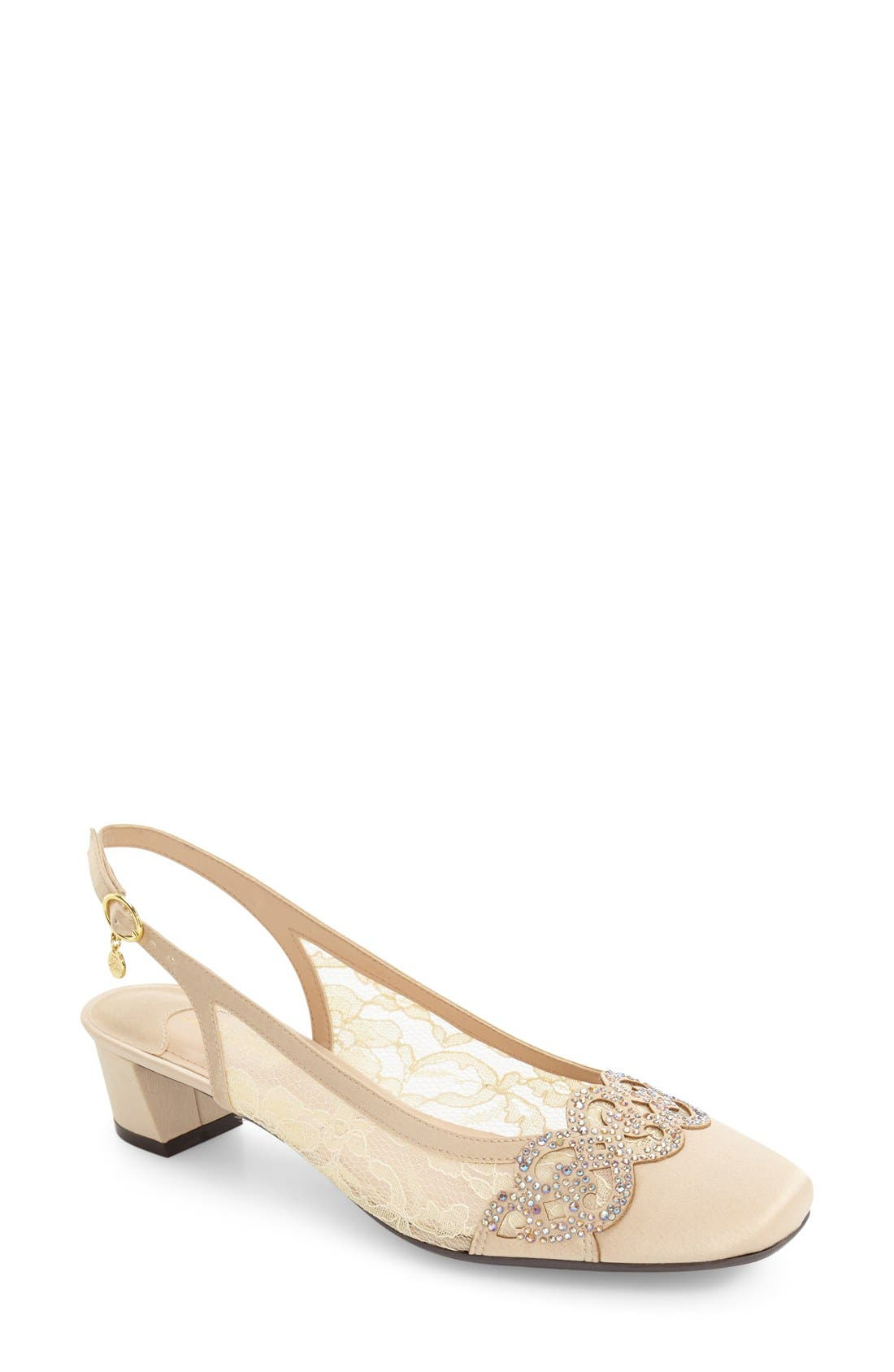 J. Reneé Faleece Crystal Embellished Slingback Pump (Women)