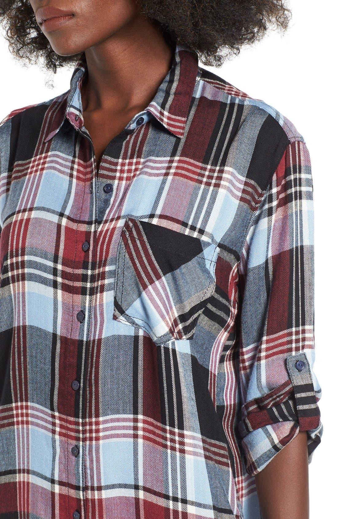 Alternate Image 4  - SP Black Plaid Shirtdress