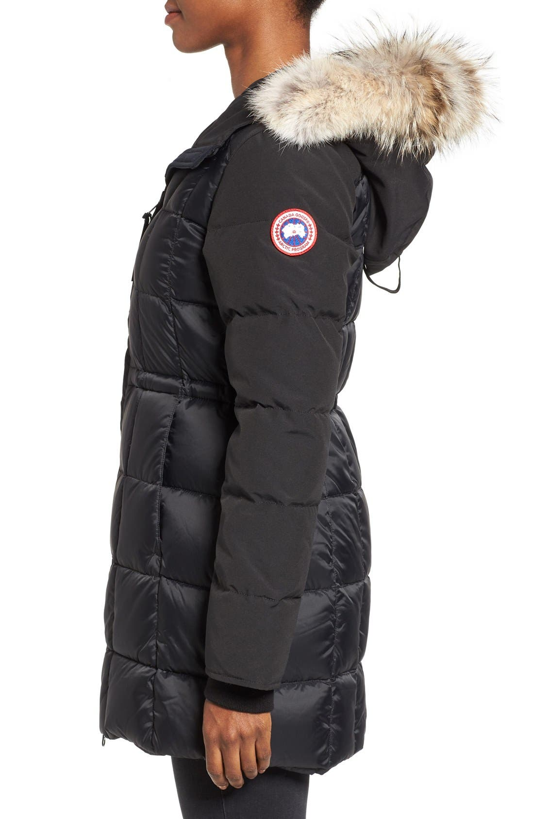 Beechwood Down Parka with Genuine Coyote Fur Trim,                             Alternate thumbnail 3, color,                             Black