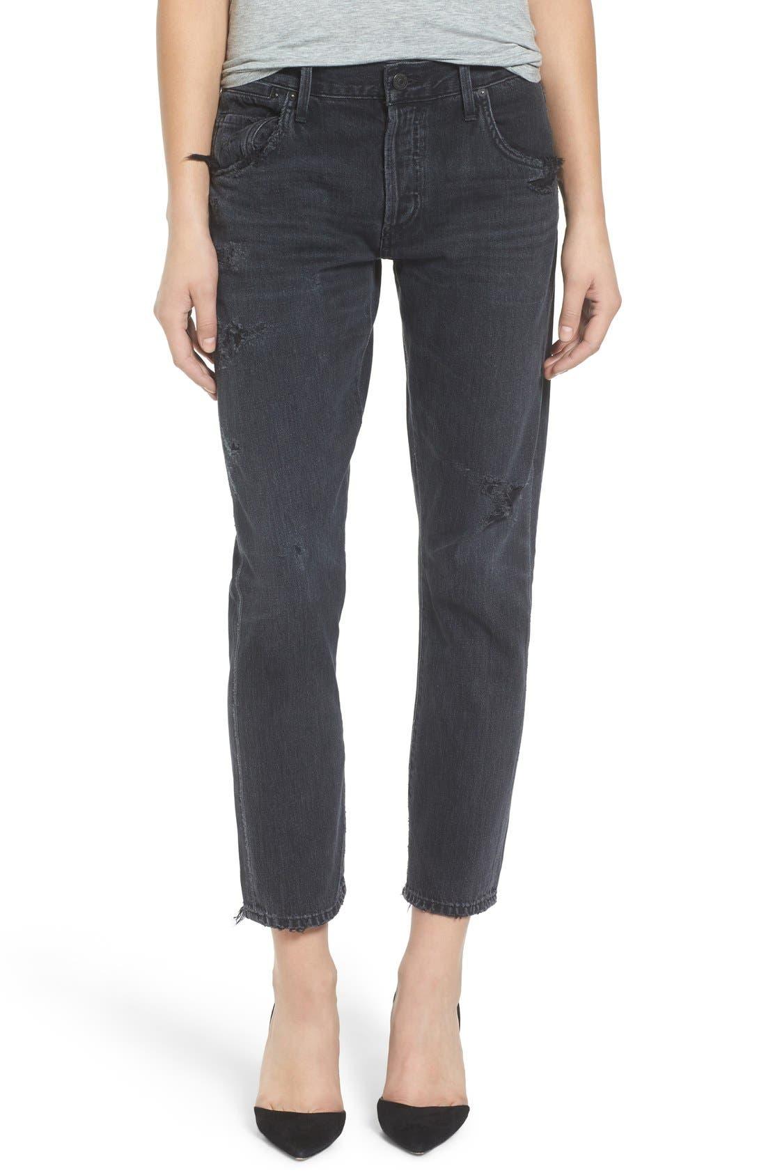 Emerson Slim Boyfriend Jeans,                         Main,                         color, Black Hawk