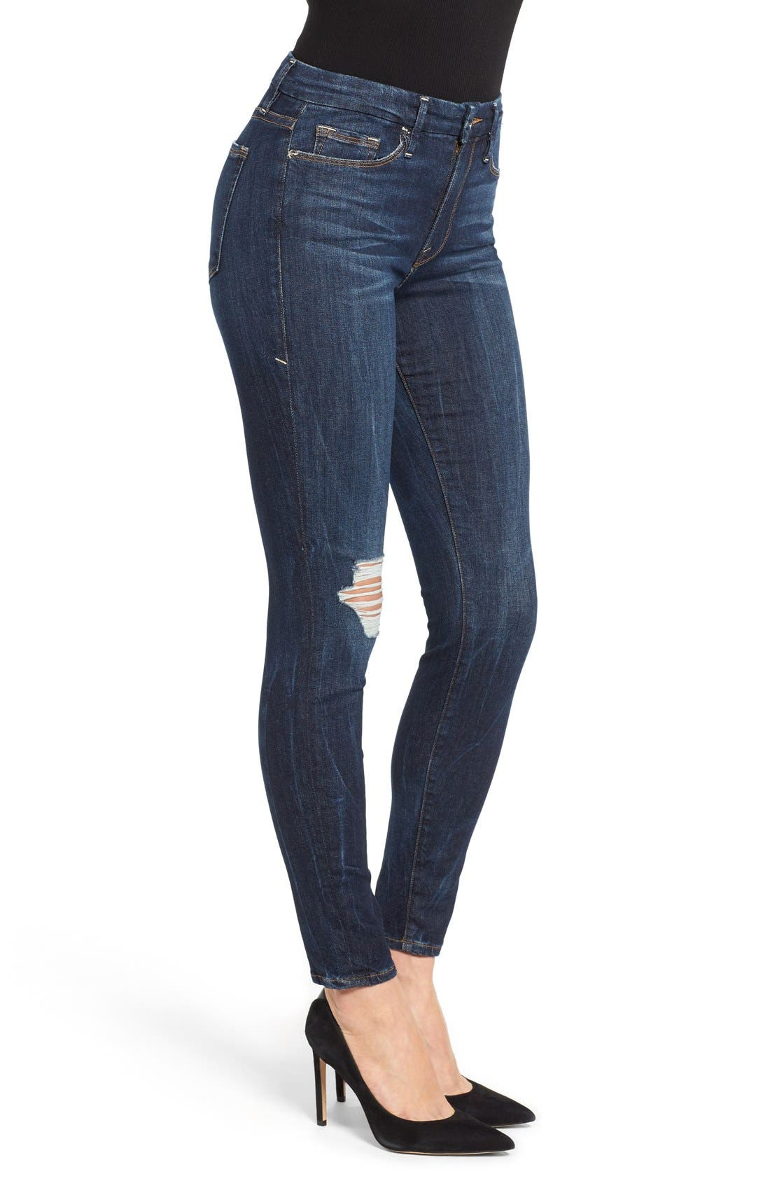 Alternate Image 3  - Good American Good Legs Ripped Skinny Jeans (Blue 002)