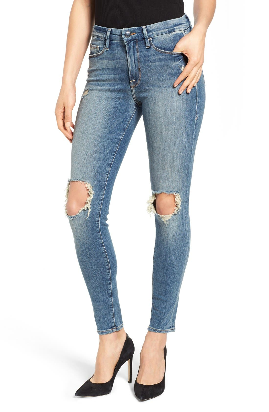 Alternate Image 1 Selected - Good American Good Legs High Rise Ripped Skinny Jeans (Blue 006)