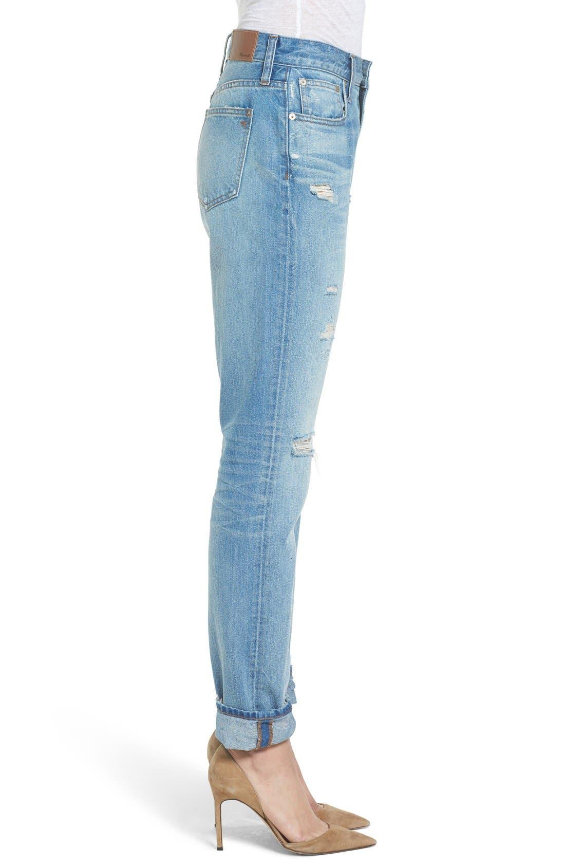Perfect Vintage Ripped High Waist Boyfriend Jeans,                             Alternate thumbnail 3, color,                             Chet Wash