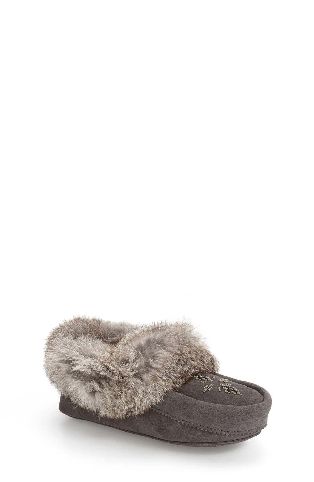 Manitobah Mukluks Genuine Rabbit Fur Moccasin (Toddler & Little Kid)