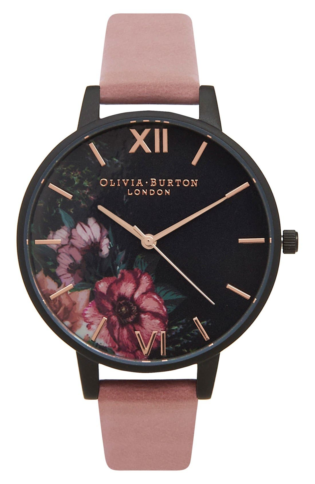 'After Dark' Leather Strap Watch, 38mm,                             Main thumbnail 1, color,                             Rose/ Black