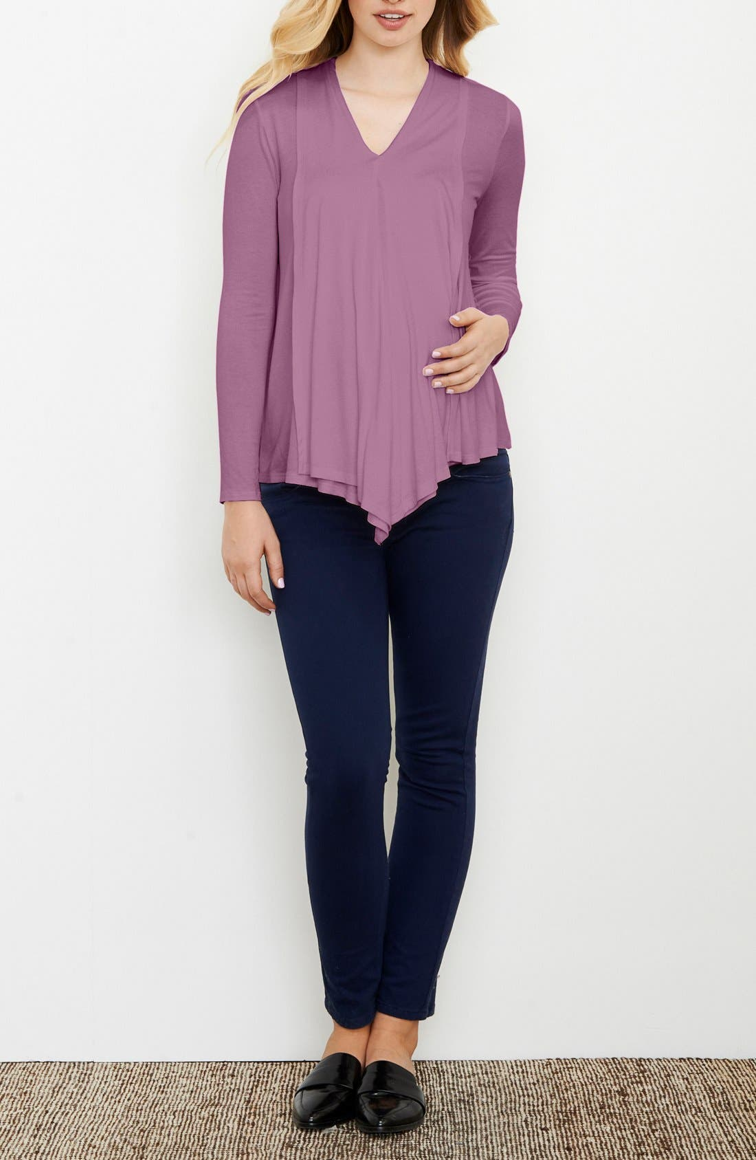 Draped Nursing Top,                             Main thumbnail 1, color,                             Lilac