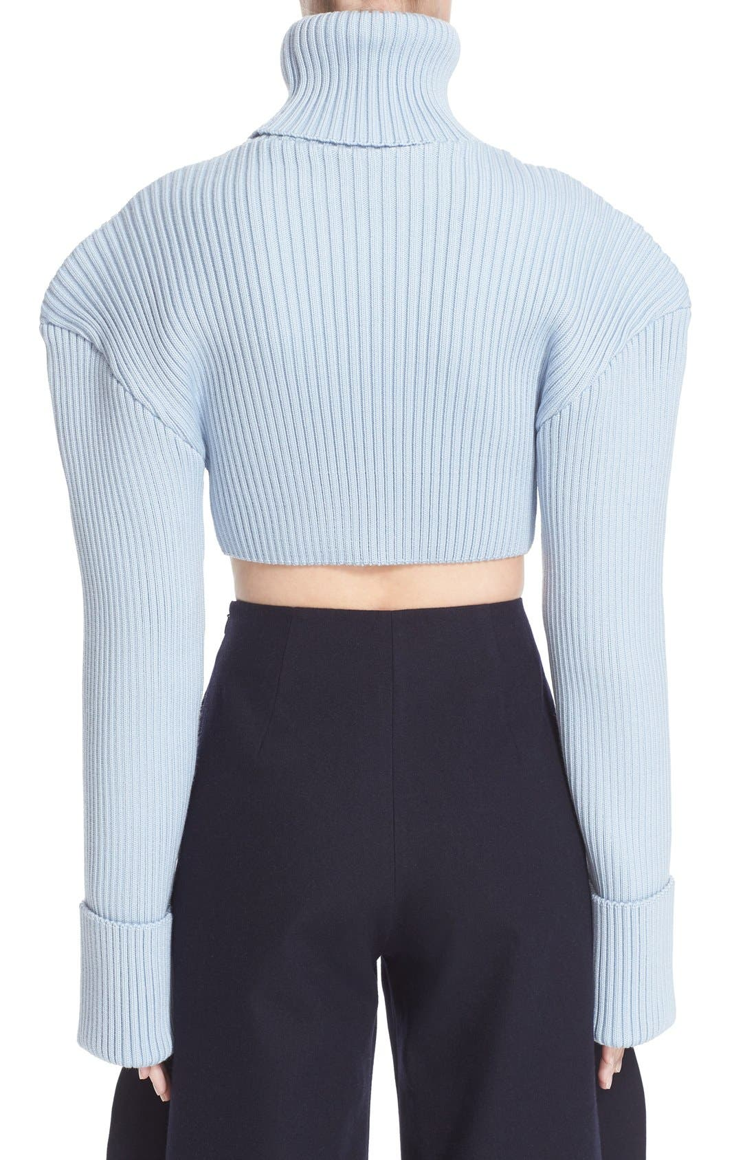 Alternate Image 2  - Jacquemus Cropped Football Shoulder Turtleneck Sweater