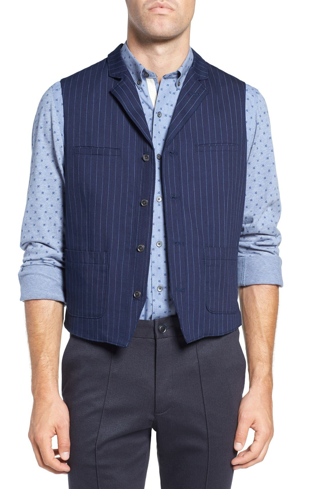 Windsor Pinstripe Cotton Twill Vest,                         Main,                         color, Navy