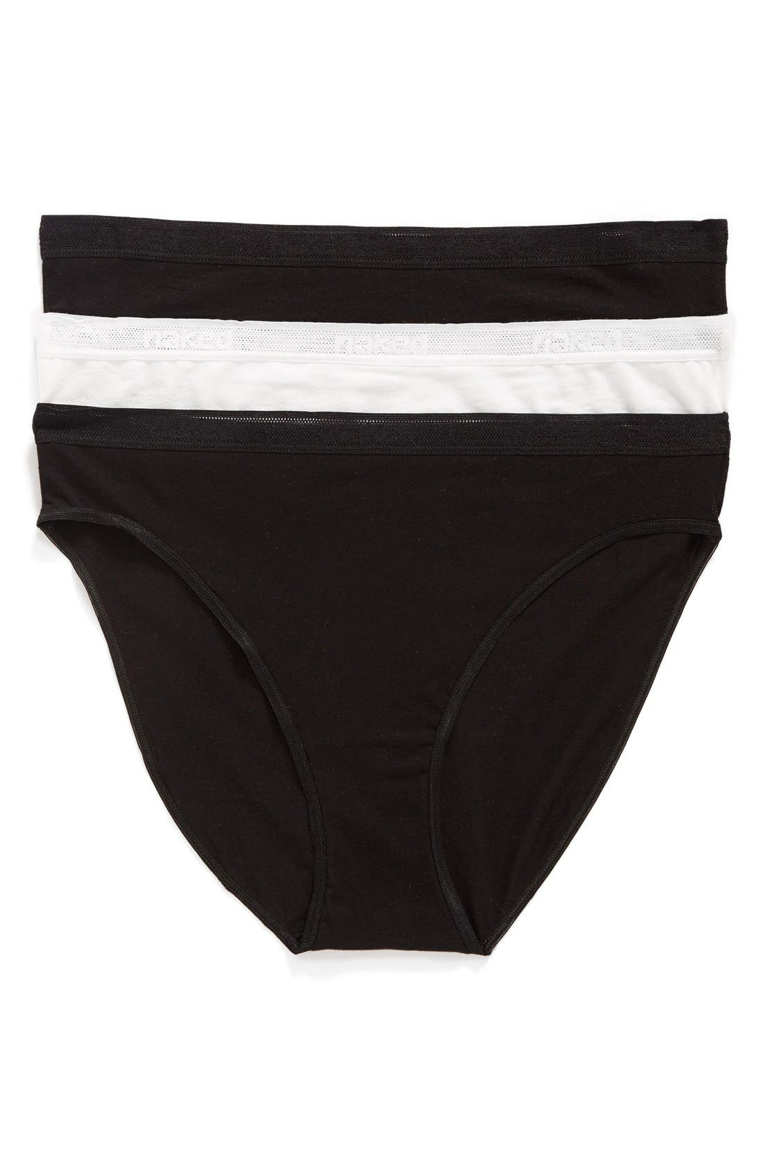3-Pack Stretch Pima Cotton High Cut Panties,                         Main,                         color, Black/ Black/ White