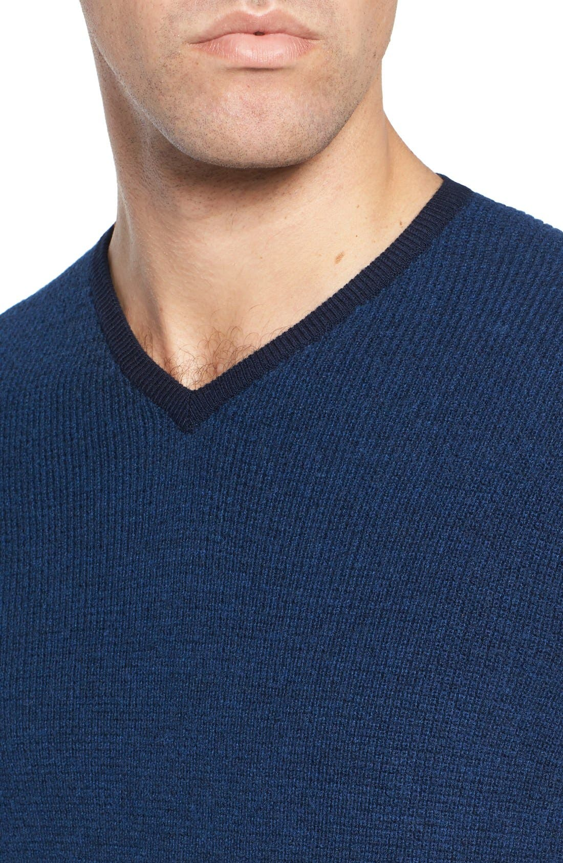 V-Neck Colorblock Merino Wool Pullover,                             Alternate thumbnail 4, color,                             Blue