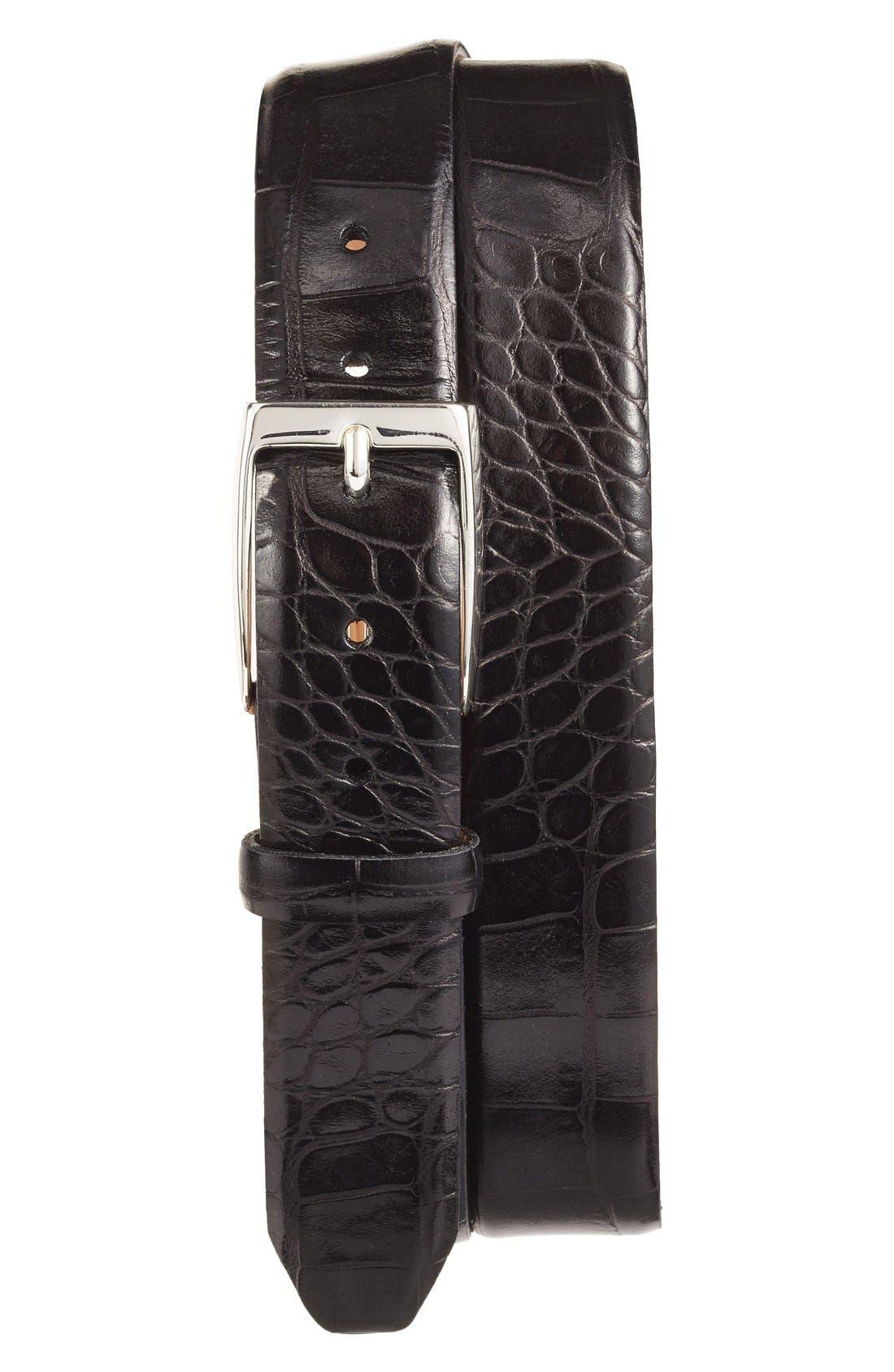 Anthony Leather Belt,                             Main thumbnail 1, color,                             Black