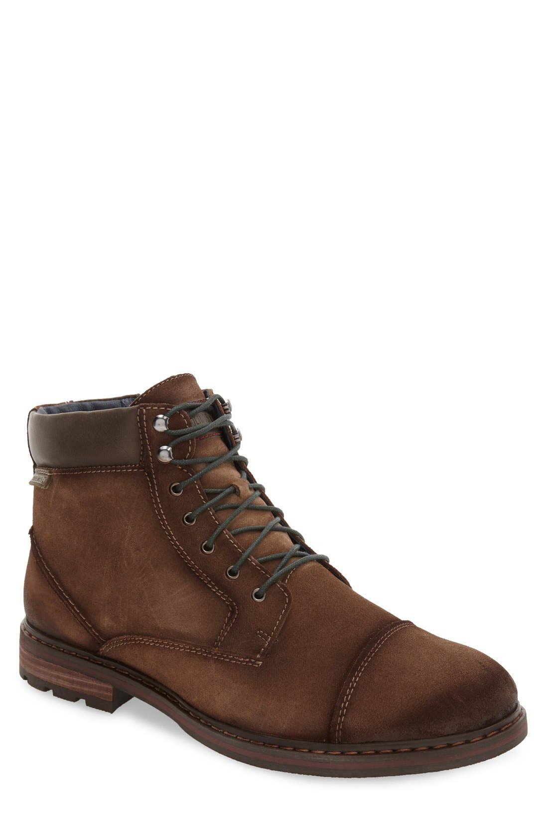 'Cacers' Lace-Up Zip Boot,                             Main thumbnail 1, color,                             Brown Leather