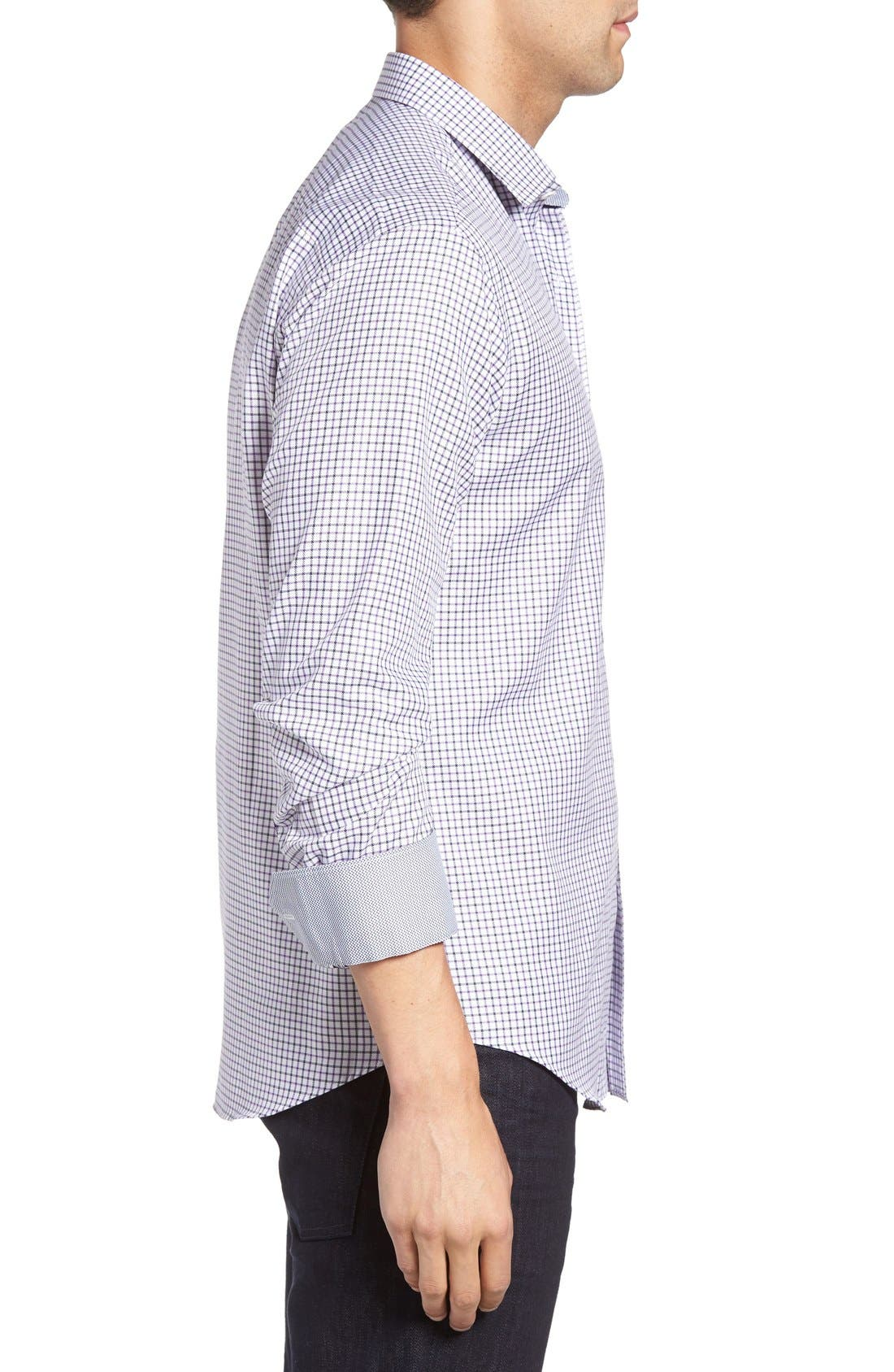 Shaped Fit Tattersall Sport Shirt,                             Alternate thumbnail 3, color,                             Orchid