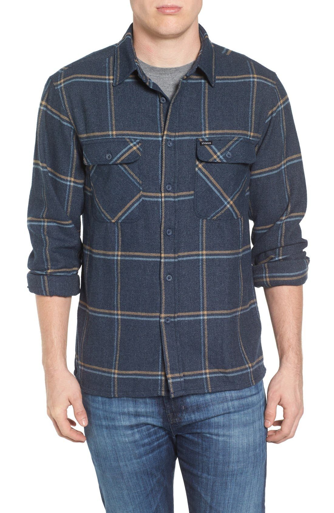'Archie' Plaid Flannel Shirt,                             Main thumbnail 1, color,                             Navy