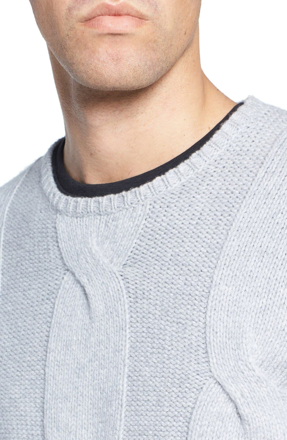 Wool & Cashmere Sweater,                             Alternate thumbnail 4, color,                             Light Grey
