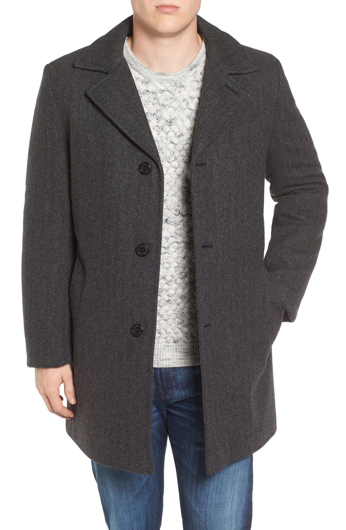 Alternate Image 1 Selected - Pendleton Manhattan Herringbone Wool Blend Reefer Coat
