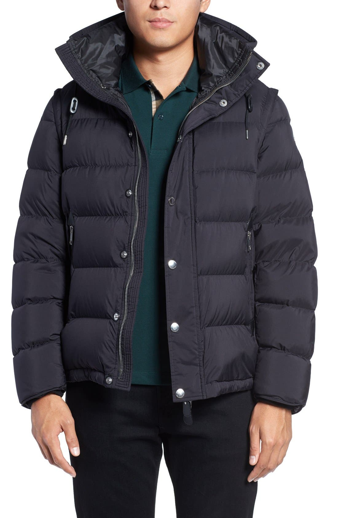 Convertible Quilted Jacket,                             Main thumbnail 1, color,                             Black