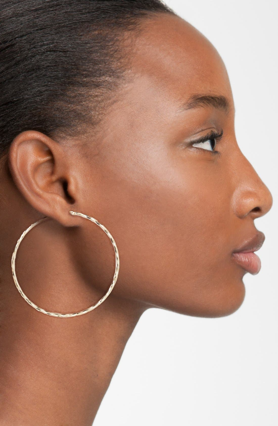 Alternate Image 2  - Nordstrom Hammered Hoop Earrings
