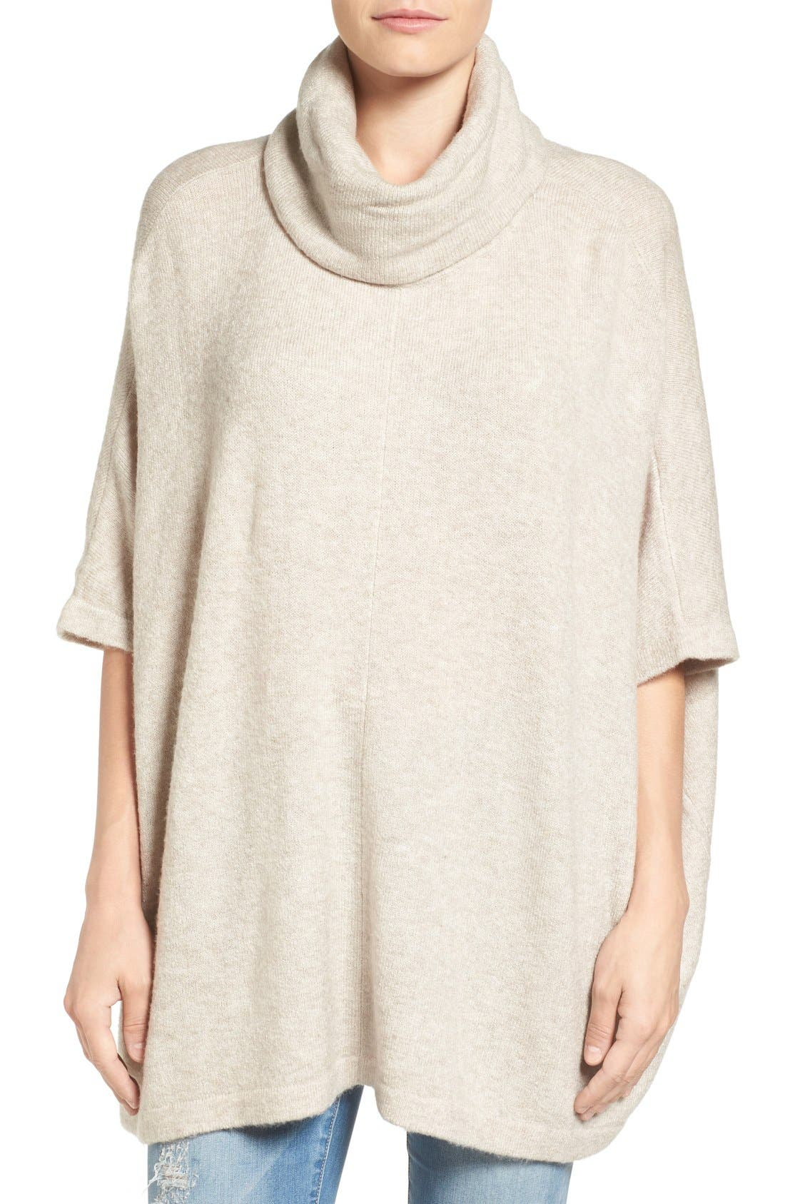 Caslon® Cowl Neck Sweater Poncho (Regular & Petite)