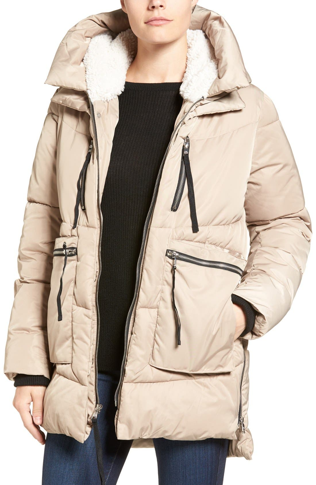 Hooded Puffer Jacket with Faux Shearling Trim,                         Main,                         color, Sand