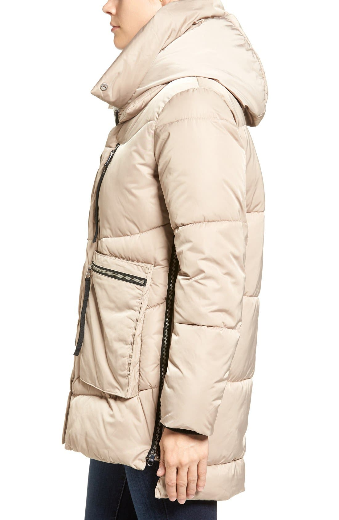 Hooded Puffer Jacket with Faux Shearling Trim,                             Alternate thumbnail 3, color,                             Sand