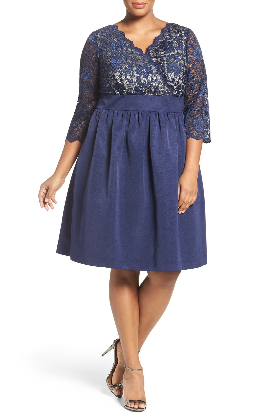 Alternate Image 2  - Eliza J Lace & Faille Dress (Plus Size)