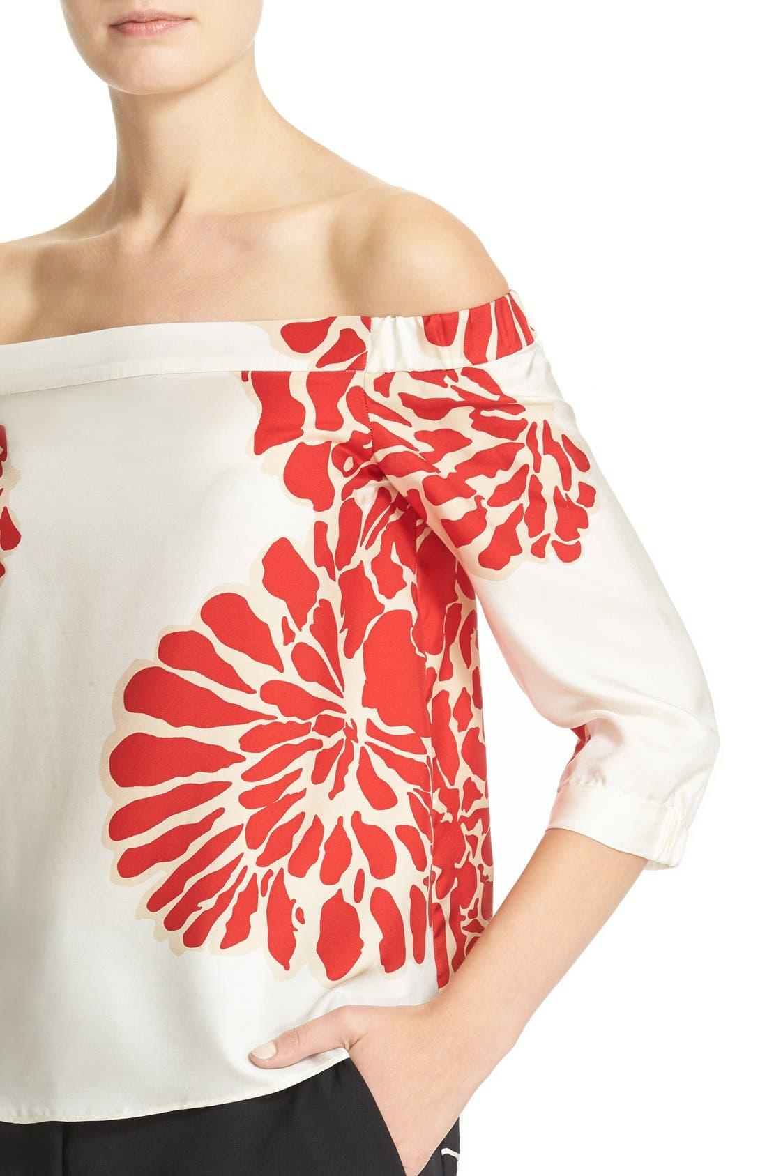 Alternate Image 5  - Tibi Orla Bloom Silk Off the Shoulder Top