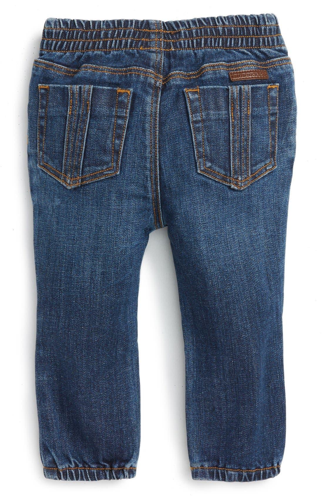Alternate Image 2  - Burberry Eloise Denim Jogger Pants (Baby Girls)