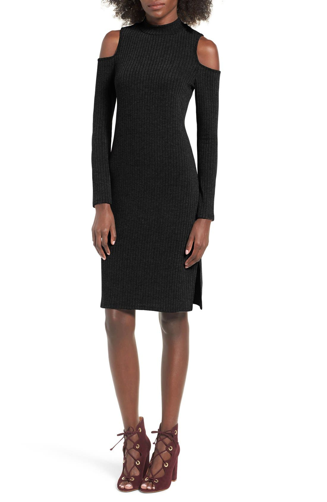 Alternate Image 1 Selected - One Clothing Cold Shoulder Midi Dress