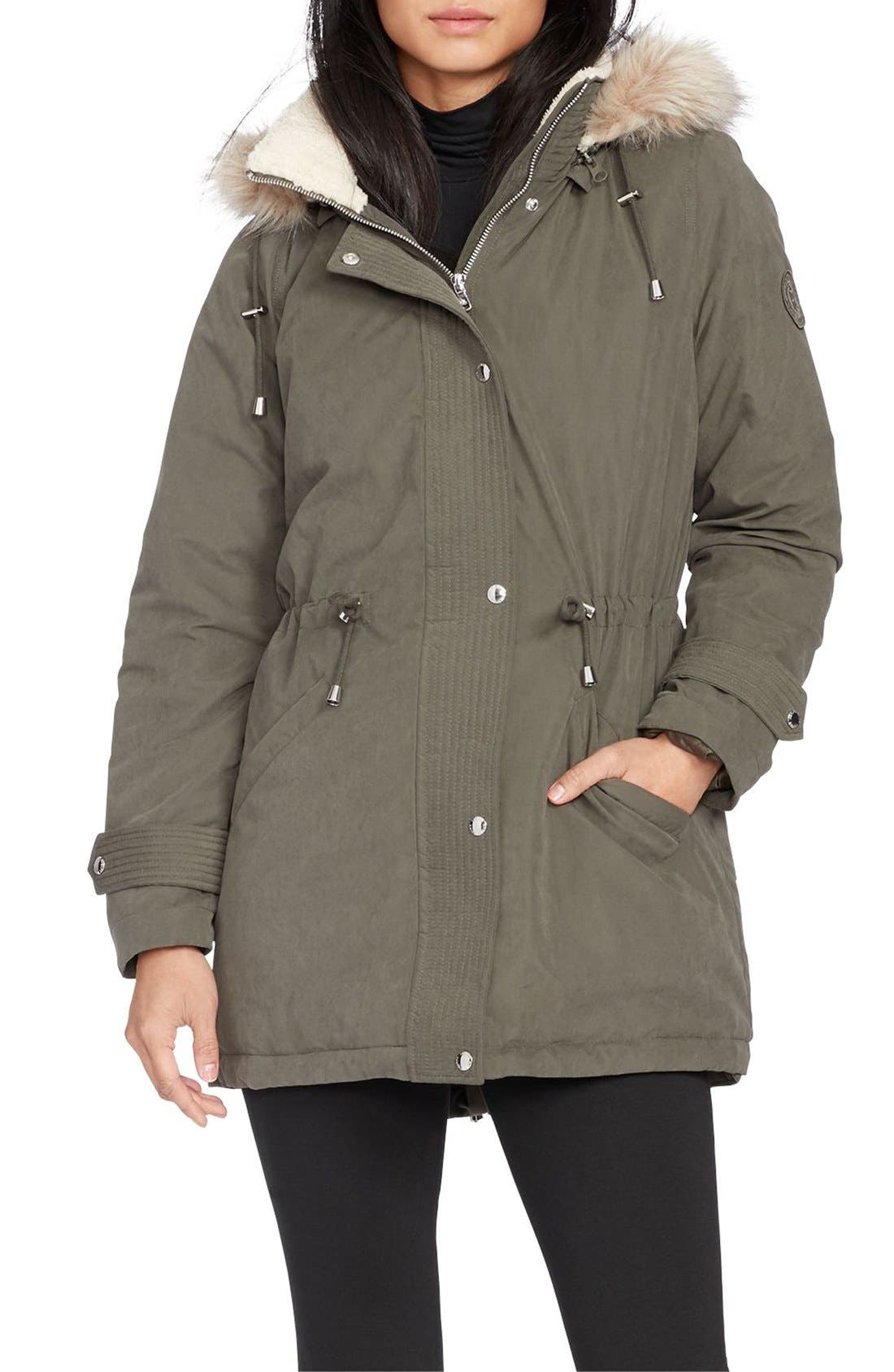 Main Image - Lauren Ralph Lauren Faux Fur & Faux Shearling Trim Hooded Down Anorak
